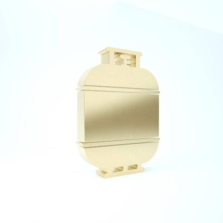 Gold Propane gas tank icon isolated on white background. Flammable gas tank icon. 3d illustration 3D render