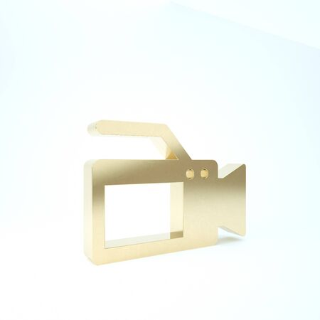 Gold Cinema camera icon isolated on white background. Video camera. Movie sign. Film projector. 3d illustration 3D render