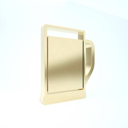 Gold Glass of beer icon isolated on white background. 3d illustration 3D render