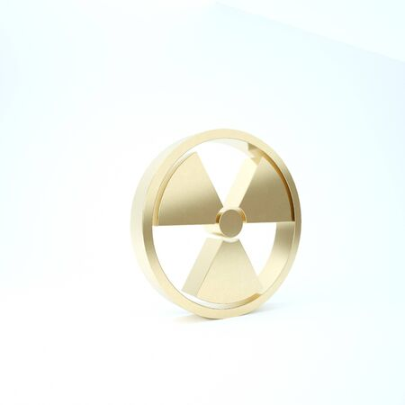 Gold Radioactive icon isolated on white background. Radioactive toxic symbol. Radiation Hazard sign. 3d illustration 3D render Banco de Imagens