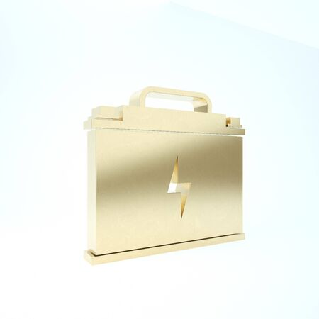 Gold Car battery icon isolated on white background. Accumulator battery energy power and electricity accumulator battery. Lightning bolt. 3d illustration 3D render