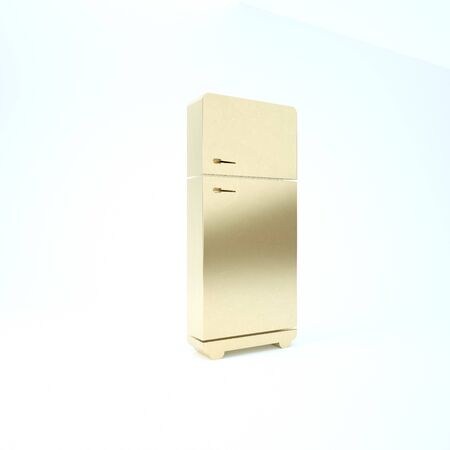 Gold Refrigerator icon isolated on white background. Fridge freezer refrigerator. Household tech and appliances. 3d illustration 3D render