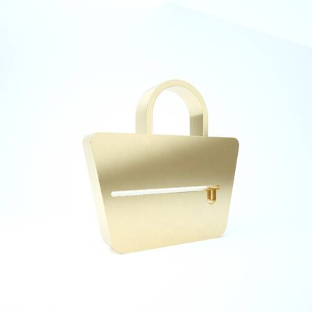 Gold Handbag icon isolated on white background. Female handbag sign. Glamour casual baggage symbol. 3d illustration 3D render