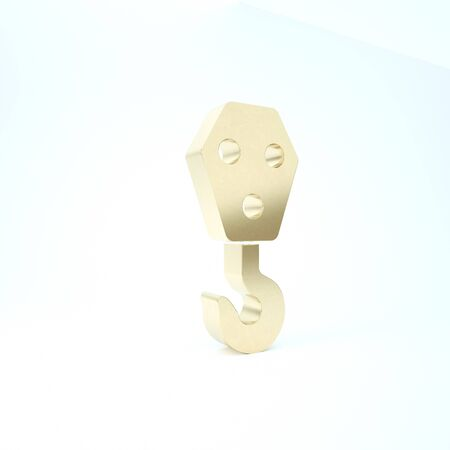 Gold Industrial hook icon isolated on white background. Crane hook icon. 3d illustration 3D render