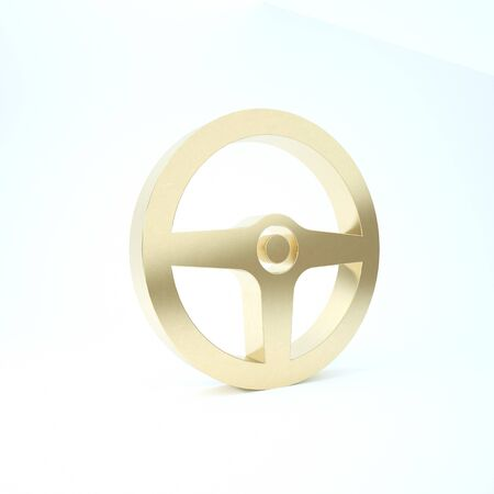 Gold Steering wheel icon isolated on white background. Car wheel icon. 3d illustration 3D render