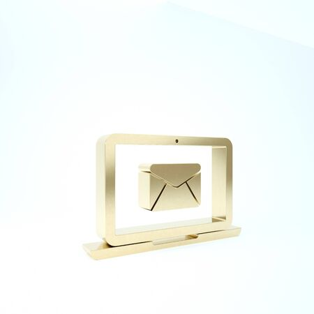 Gold Laptop with envelope and open email on screen icon isolated on white background. Email marketing, internet advertising concepts. 3d illustration 3D render