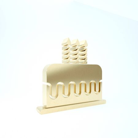 Gold Cake with burning candles icon isolated on white background. Happy Birthday. 3d illustration 3D render