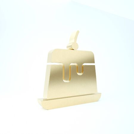 Gold Pudding custard with caramel glaze icon isolated on white background. 3d illustration 3D render