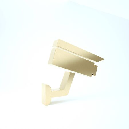 Gold Security camera icon isolated on white background. 3d illustration 3D render