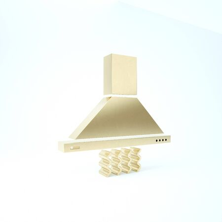 Gold Kitchen extractor fan icon isolated on white background. Cooker hood. Kitchen exhaust. Household appliance. 3d illustration 3D render