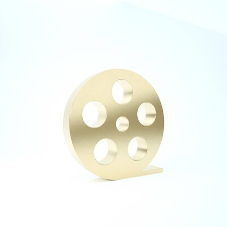 Gold Film reel icon isolated on white background. 3d illustration 3D render
