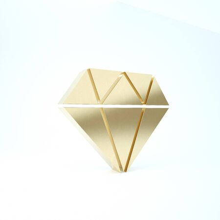 Gold Diamond icon isolated on white background. Jewelry symbol. Gem stone. 3d illustration 3D render