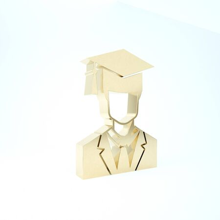 Gold Male graduate student profile with gown and graduation cap icon isolated on white background. 3d illustration 3D render Banque d'images - 133208661