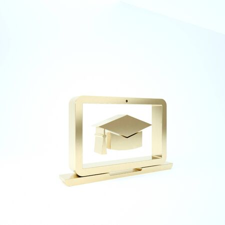 Gold Graduation cap on screen laptop icon isolated on white background. Online learning or e-learning concept. 3d illustration 3D render 写真素材
