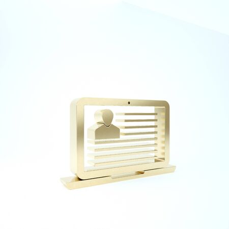 Gold Laptop with resume icon isolated on white background. CV application. Searching professional staff. Analyzing personnel resume. 3d illustration 3D render