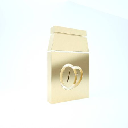 Gold Coffee beans in bag icon isolated on white background. 3d illustration 3D render