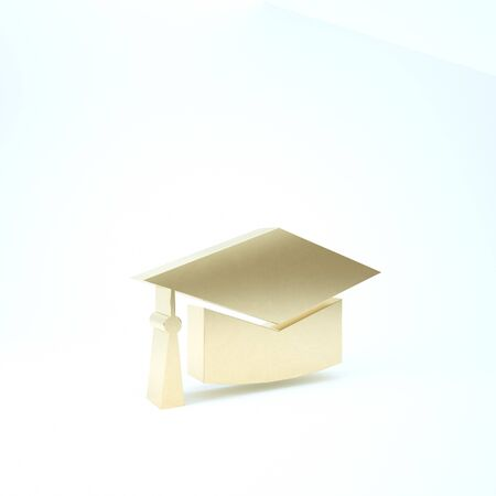 Gold Graduation cap icon isolated on white background. Graduation hat with tassel icon. 3d illustration 3D render Banque d'images - 133210885
