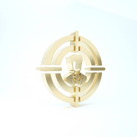 Gold Head hunting concept icon isolated on white background. Business target or Employment sign. Human resource and recruitment for business. 3d illustration 3D render