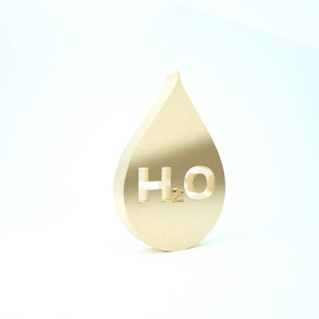 Gold Water drop with H2O icon isolated on white background. Water formula. 3d illustration 3D render Imagens