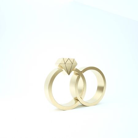 Gold Wedding rings icon isolated on white background. Bride and groom jewelery sign. Marriage icon. Diamond ring. 3d illustration 3D render