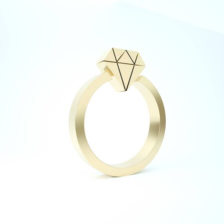 Gold Diamond engagement ring icon isolated on white background. 3d illustration 3D render Stock Photo