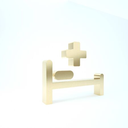 Gold Hospital Bed with Medical symbol of the Emergency - Star of Life icon isolated on white background. 3d illustration 3D render Stock Photo