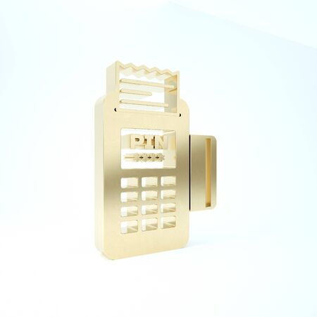Gold POS terminal with inserted credit card and printed reciept icon isolated on white background. NFC payment concept. 3d illustration 3D render