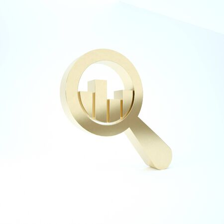 Gold Magnifying glass and data analysis icon isolated on white background. 3d illustration 3D render