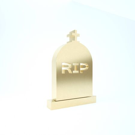 Gold Tombstone with RIP written on it icon isolated on white background. Grave icon. Imagens