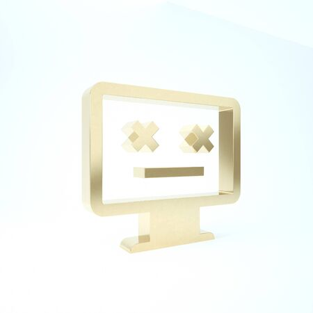 Gold Dead monitor icon isolated on white background. 404 error like pc with dead emoji. Fatal error in pc system. 3d illustration 3D render
