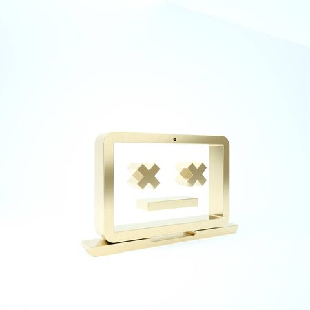 Gold Dead laptop icon isolated on white background. 404 error like laptop with dead emoji. Fatal error in pc system. 3d illustration 3D render