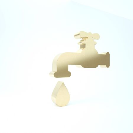 Gold Water tap with a falling water drop icon isolated on white background. 3d illustration 3D render