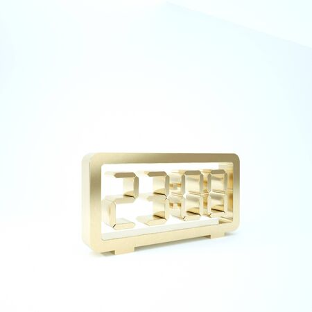 Gold Digital alarm clock icon isolated on white background. Electronic watch alarm clock. Time icon. 3d illustration 3D render