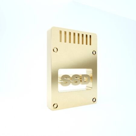 Gold SSD card icon isolated on white background. Solid state drive sign. Storage disk symbol. 3d illustration 3D render