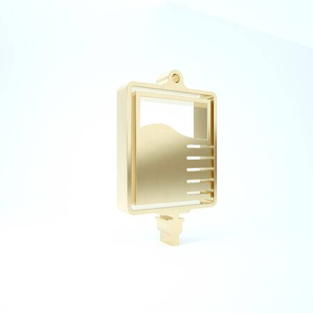Gold IV bag icon isolated on white background. Blood bag icon. Donate blood concept. The concept of treatment and therapy, chemotherapy. 3d illustration 3D render 스톡 콘텐츠 - 133227466