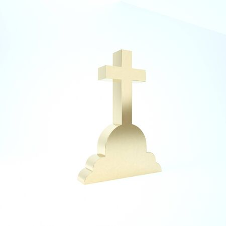 Gold Tombstone with cross icon isolated on white background. Grave icon. 3d illustration 3D render Imagens