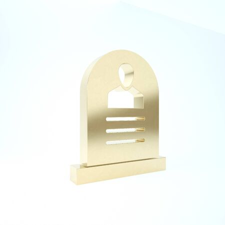 Gold Tombstone with RIP written on it icon isolated on white background. Grave icon. 3d illustration 3D render Imagens