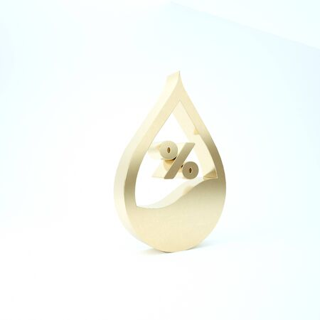 Gold Water drop percentage icon isolated on white background. Humidity analysis. 3d illustration 3D render Banco de Imagens
