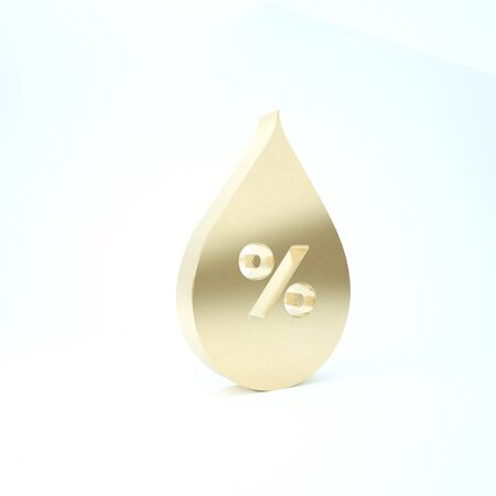 Gold Water drop percentage icon isolated on white background. Humidity analysis. 3d illustration 3D render 스톡 콘텐츠