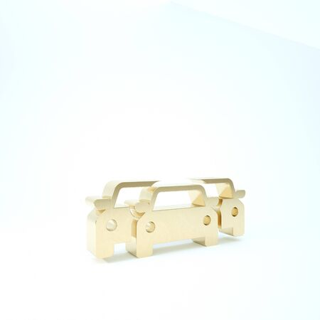 Gold Cars icon isolated on white background. 3d illustration 3D render Banque d'images - 133209904
