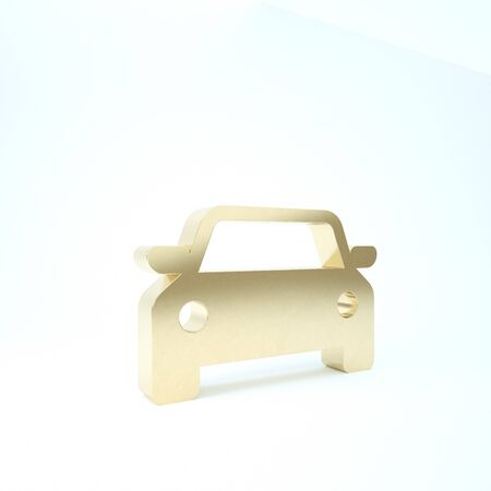 Gold Car icon isolated on white background. 3d illustration 3D render Banque d'images - 133211172