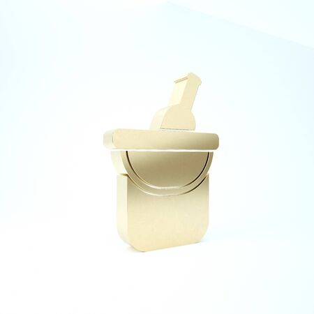 Gold Bottle of wine in an ice bucket icon isolated on white background. 3d illustration 3D render Stock fotó