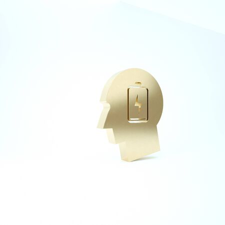 Gold Male head with low battery icon isolated on white background. Tired man. 3d illustration 3D render