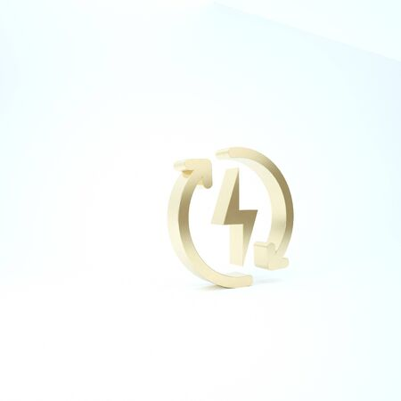 Gold Recharging icon isolated on white background. Electric energy sign. 3d illustration 3D render 写真素材