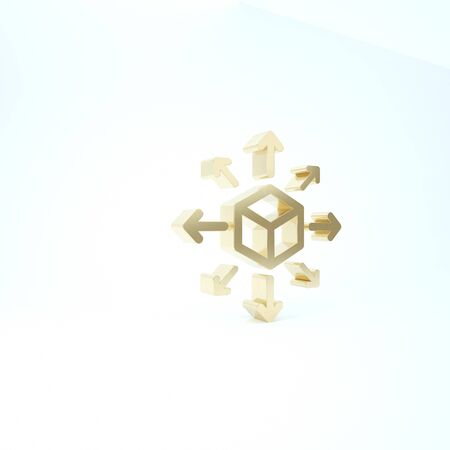 Gold Distribution icon isolated on white background. Content distribution concept. 3d illustration 3D render
