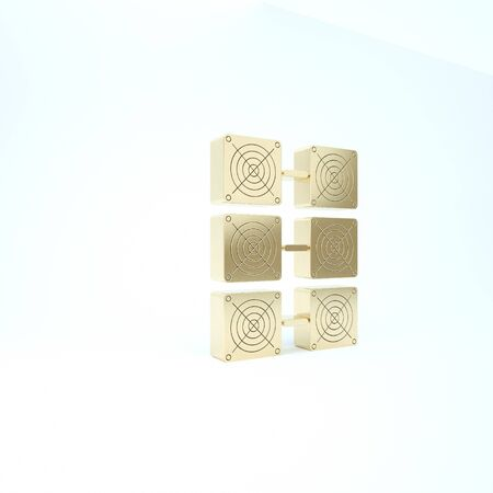 Gold Mining farm icon isolated on white background. Cryptocurrency mining, blockchain technology, bitcoin, digital money market, cryptocoin wallet. 3d illustration 3D render