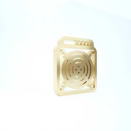 Gold ASIC Miner icon isolated on white background. Cryptocurrency mining equipment and hardware. Application specific integrated circuit. 3d illustration 3D render