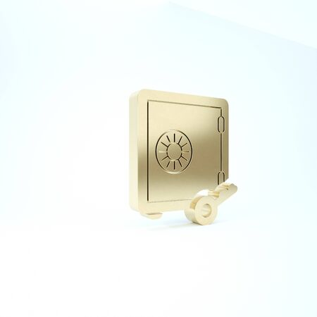Gold Proof of stake icon isolated on white background. Cryptocurrency economy and finance collection. 3d illustration 3D render