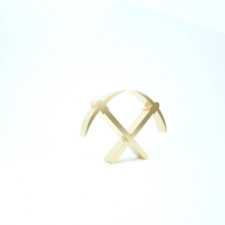 Gold Crossed pickaxe icon isolated on white background. Blockchain technology, cryptocurrency mining, bitcoin, altcoins, digital money market. 3d illustration 3D render