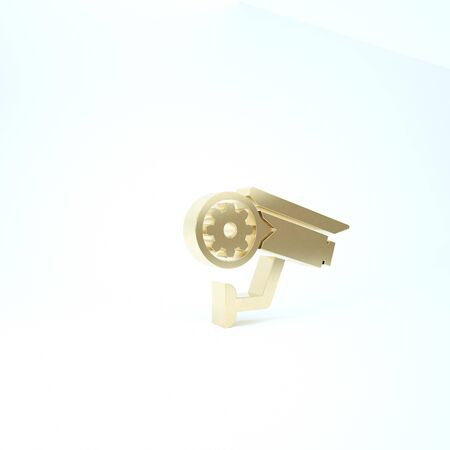 Gold Security camera and gear icon isolated on white background. Adjusting app, service concept, setting options, maintenance, repair, fixing. 3d illustration 3D render Banco de Imagens